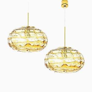 Ochre Yellow Murano Glass Pendant Lamps, 1960s, Set of 2