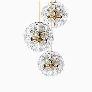Florale Messing und Glas Kronleuchter im Stile von Emile Stejnar, 3er Set