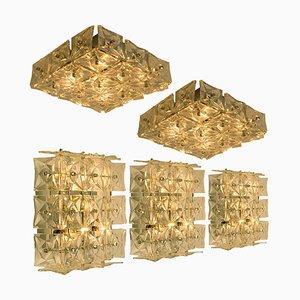 Wandlampe aus Nickel Kristallglas von Kinkeldey, 1970er