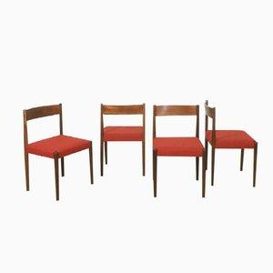 Walnuss Esszimmerstühle von Poul Volther für Frem Rojle, 4er Set
