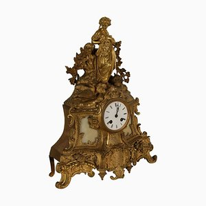 Gilded Bronze and White Marble Fireplace Clock, France, Late 1800s