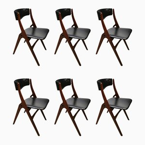 Mid-Century Dutch Dining Chairs by Louis Teeffelen for Webe, Set of 6