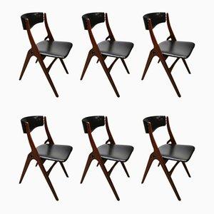 Niederländische Mid-Century Esszimmerstühle von Louis Teeffelen für Webe, 6er Set