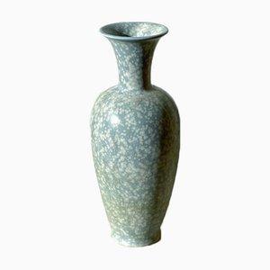 Blau Gesprenkelte Steingut Vase von Gunnar Nylund, 1940er