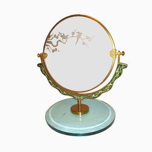 Espejo de mesa italiano vintage con diseño de pajaros