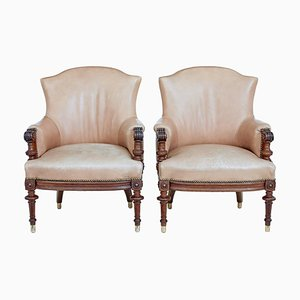 Late 19th Century Carved Walnut and Leather Armchairs, Set of 2