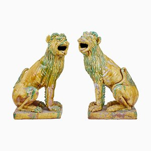 Large Mid 20th Century Indonesian Salt Glazed Decorative Dogs, Set of 2