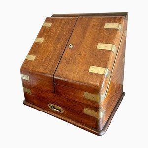 Victorian 19th-Century Oak Military Stationery Box