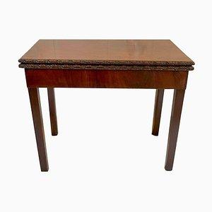 Table à Cartes Sculptées Chippendale 18ème Siècle en Acajou