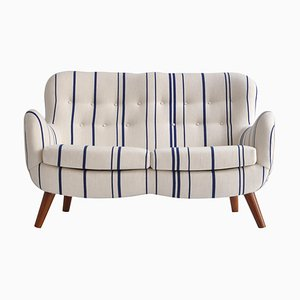 Sofa in Blue Striped Savak Wool by Frits Schlegel, Denmark, 1940s