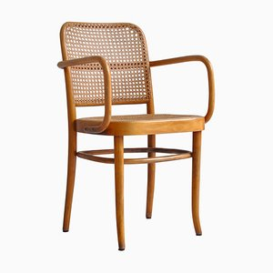 Thonet Prague Chair by Josef Hoffmann in Bentwood and Cane, 1920s