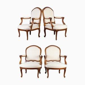 Louis XV Armlehnstühle, 4er Set