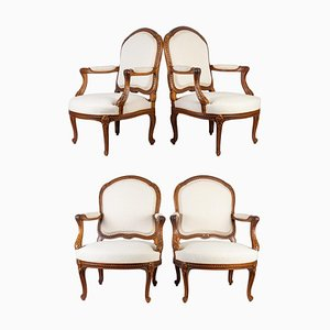 Louis XV Style Armchairs, Set of 4
