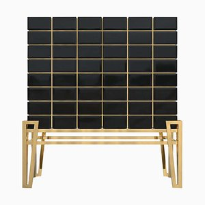 Mueble bar de latón y madera
