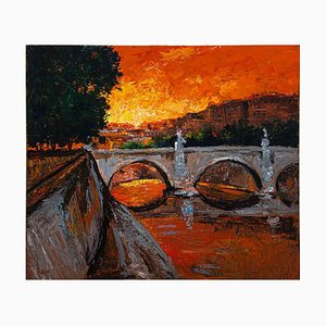 Luciano Sacco - Sunset Over the Tiber - Oil Painting - 1980s