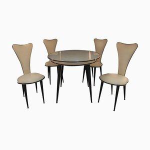 Juego de mesa y sillas vintage de Umberto Mascagni, años 60