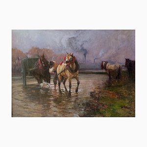 Alessandro Lupo - Working Horses - Huile Sur Toile - 1913