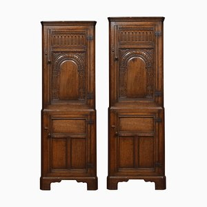 Carved Oak Corner Cupboards, Set of 2