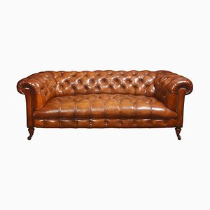 Leather Buttoned Chesterfield Sofa