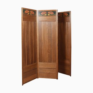 Oak Four-Panel Folding Dressing Screen