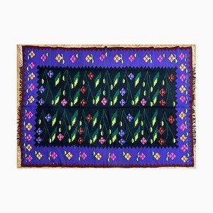 Handgewebter floraler Oltenian Teppich aus Wolle