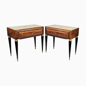 Italian Mid-Century Walnut Nightstands with Glass Top, Set of 2