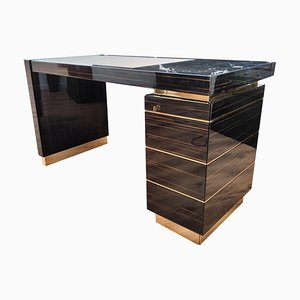 Italian Ebony Wood and Brass Mid-Century Desk