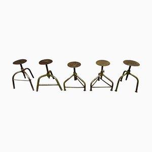 Vintage Industrial Stools, Set of 5