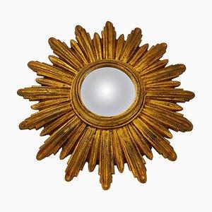 Specchio Mid-Century dorato a forma di sole, anni '60