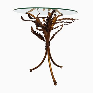 Vintage Metal Palm Side Table, Italy, 1960s