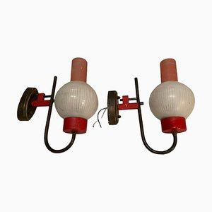 Rote Vintage Glas Wandlampen von Stilnovo, 1950er, 2er Set