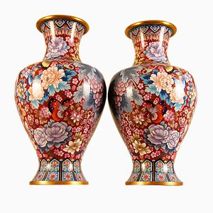 Large Chinese Enamel & Gilt Bronze Cloisonné Vases, 1930s, Set of 2