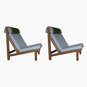 Oak Rag Chairs by Bernt Petersen for Schiang Denmark, Set of 2