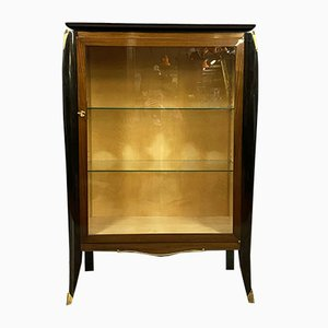 Art Deco Mahogany & Blackened Wood Display Cabinet in the style of Jules Leleu, 1920s