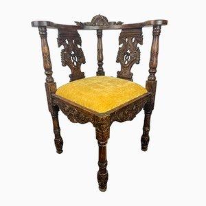 Victorian Carved Corner Armchair, 1870s