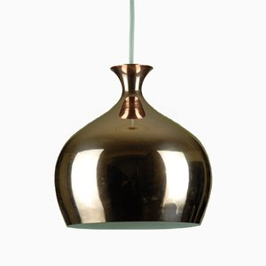 Copper Onion Pendant Lamp by Helge Zimdal for Falkenbergs Belysning, 1960s