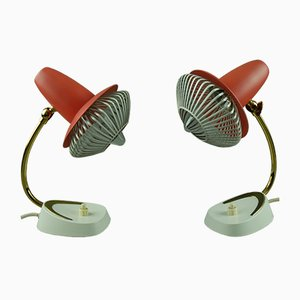 Mid-Century German Bedside Table Lamps, Set of 2