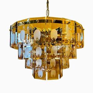 Lampada da soffitto placcata in oro di Gino Vistosi, 1977