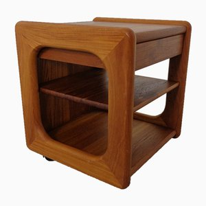 Danish Movable Solid Teak Side Table with Drawer from Toften, 1960s