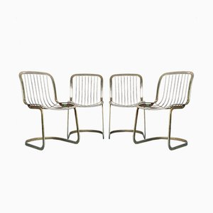 Brass Dining Chairs by Gastone Rinaldi for Cidue, 1970s, Set of 4