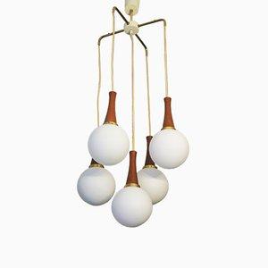 Danish Brass & Teak Cascading Five-Globe Pendant Lamp, 1960s