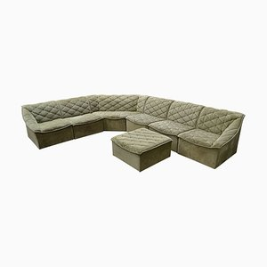 Vintage Velvet Modular Sofa, Set of 7