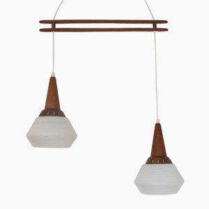 Danish Teak and Glass Hanging Lamp, 1960s
