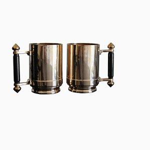 French Art Deco Bronze Beer Mugs, 1940s, Set of 2