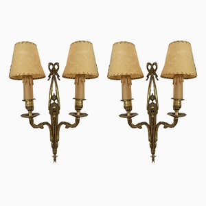 Brass Wall Lamps, 1920s, Set of 2