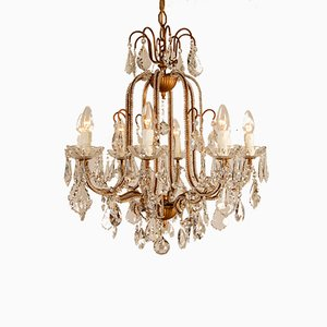 Mid-Century Italian Murano Glass & Crystal Beaded Chandelier by Banci Firenze for Banci, 1970s