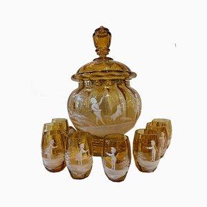 Antikes Glaswaren-Set von Mary Gregory, 7er Set