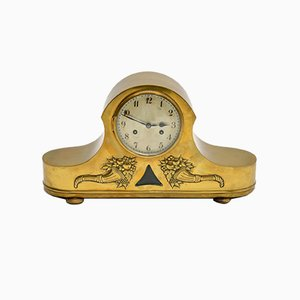 Antique Brass Napoleon Hat Mantel Clock from Junghans