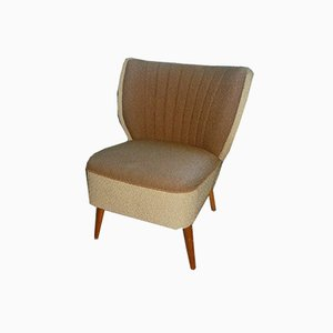 2-Tone Beige & Brown Cocktail Chair, 1950s