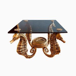 Tavolino dorato con quattro cavallucci marini di Sit Nomen Dominit Benedictum, anni '60